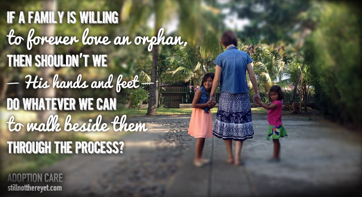If a family is willing  to forever love an orphan,  then shouldn't we  — His hands and feet —  do whatever we can  to walk beside them through the process?
