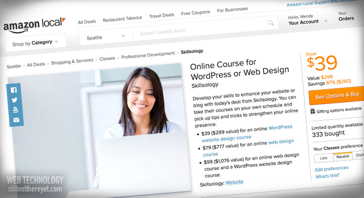 Click to buy my web design or wordpress course for just $39 each