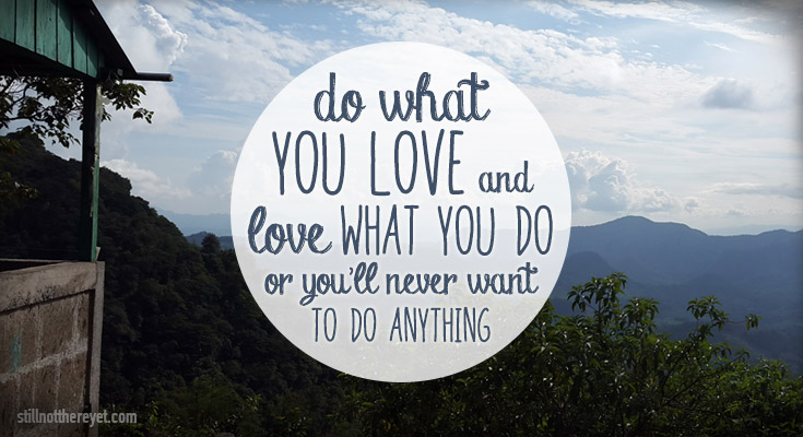 do what you love and love what you do or you'll never want to do anything