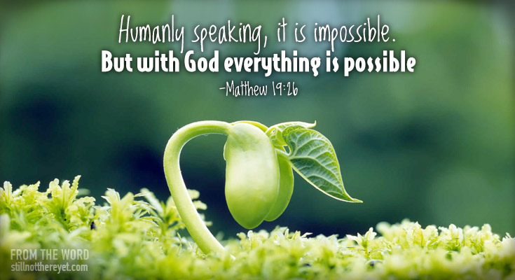 Humanly speaking, it is impossible. But with God everything is possible -Matthew 19:26