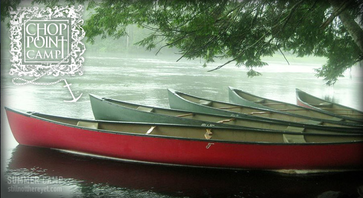 Canoes at Chop Point Camp in Maine